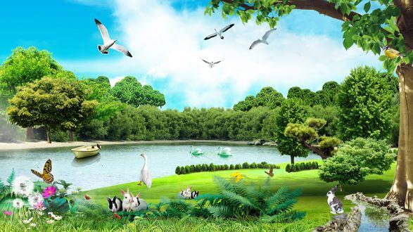 Обои Летний день у реки
