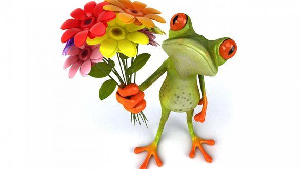 Обои Лягушка с букетом цветов