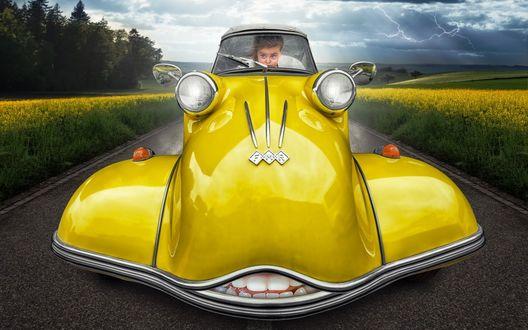 Обои По дороге среди поля желтых цветов едет девочка на зубастенькой машине лимонного цвета спасаясь от непогоды