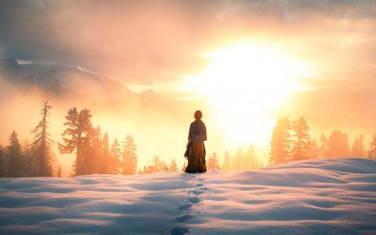 Обои Девушка стоит на заснеженной возвышенности с видом на лес, горы и солнце