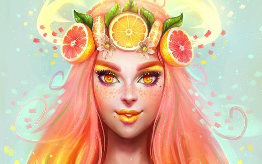 Обои Девушка с венком из фруктов на голове
