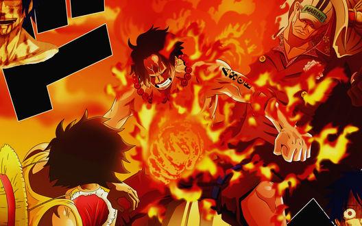 Обои Аниме one piece / Ван Пис, Портгас Д. Эйс жертвует собою, чтобы защитить своегомладшего брата Монки Д. Луффи от адмиралаАкаину
