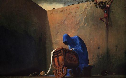 Обои Смерть, ребенок и надпись, смерть укачивает ребенка, надпись на латинском на стене In hoc signo vinces - «ты победишь»