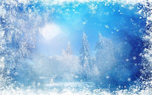 Обои Зимняя сказка в обрамлении снежинок