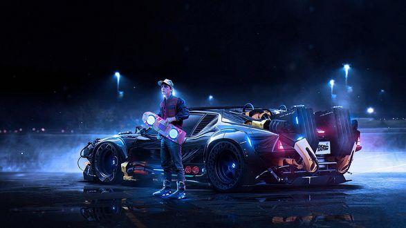 Обои Парень Марти, персонаж компьютерной игры Назад в будущее, стоит со скейтом в руке возле фантастической машины