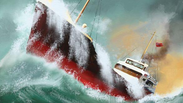 Обои Корабль борется со штормом в разбушевавшемся море, художник Донато Джанкола / Donato Giancola