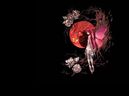 Обои Лесная фея, парит в воздухе рядом с деревом, позади полумесяц наблюдает за феей, на земле и на дереве бутоны цветов