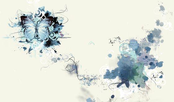 Обои Абстрактный рисунок, бабочки, части карты, и фраз