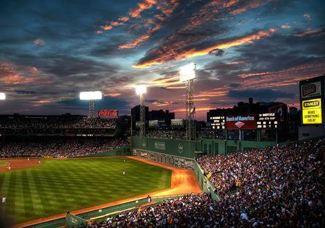 Обои Fenway Park, бейсбольный стадион в Бостоне, Бостон, штат Массачусетс, США