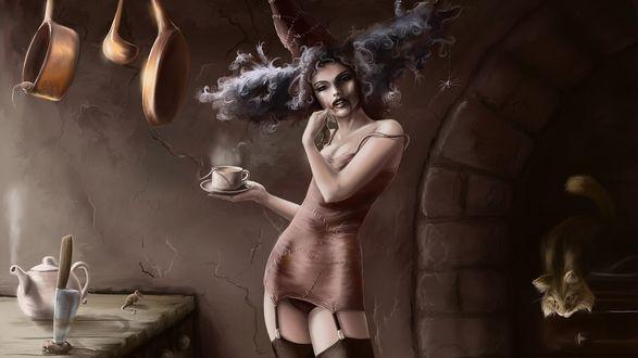 Обои Чаепитие девушки демона