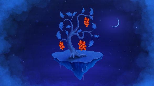 Обои Мультяшное дерево с подарками на маленьком острове в небе