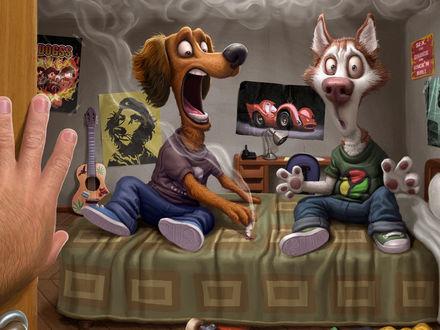 Обои Когда хозяев нет дома, две собаки в одежде, сидят на постели, в испуге, один пес тушит сигарету о постель