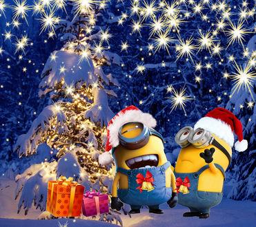 Обои Миньоны отмечают новый год