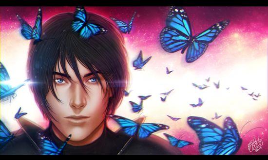 Обои Парень в окружении бабочек, by eeren