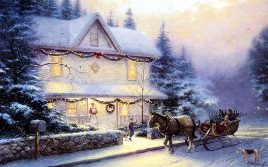 Обои Хозяева дома встречают гостей в праздник рождества