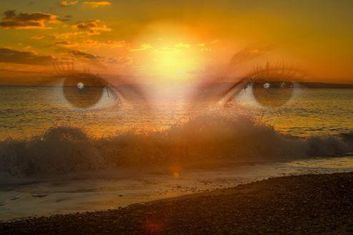 Обои Глаза на фоне моря на закате
