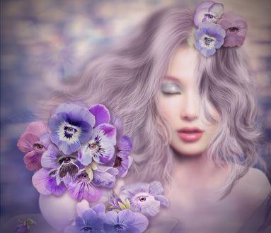 Обои Девушка с цветами - анютиными глазками, ву Nataliorion