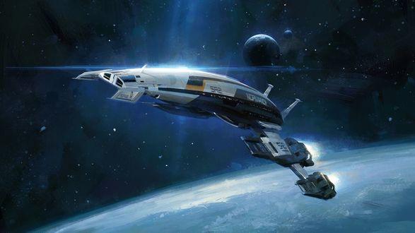 Обои Компьютерная игра Mass Effect, космический корабль Normandy