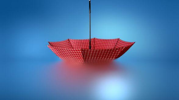 Обои Красный зонт на синем фоне