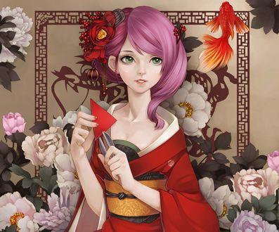 Обои Девушка в кимоно смотрит на золотую рыбку, на фоне нежно-розовых цветов