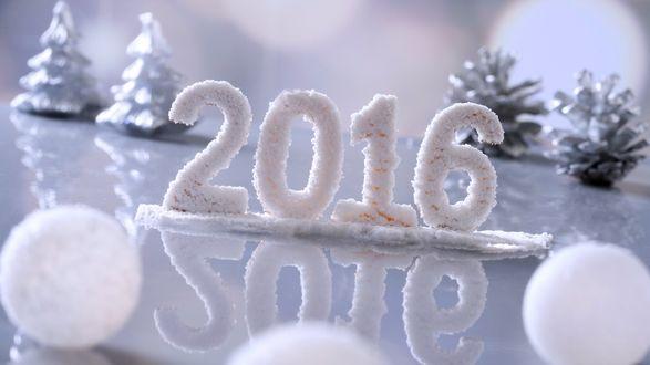 Обои Цифры 2016 украшенные снегом, позади игрушечные елочки и шишечки, спереди белые шарики