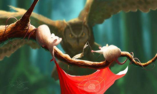 Обои Два мышонка дразнят сову