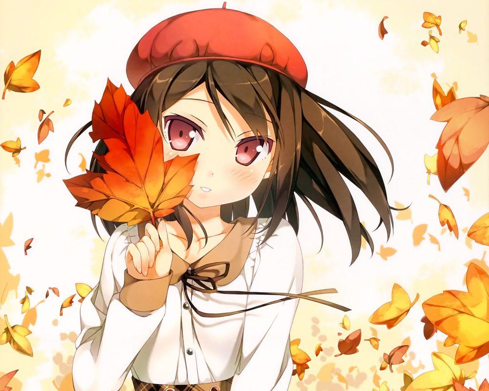 Аниме с девушкой осенью