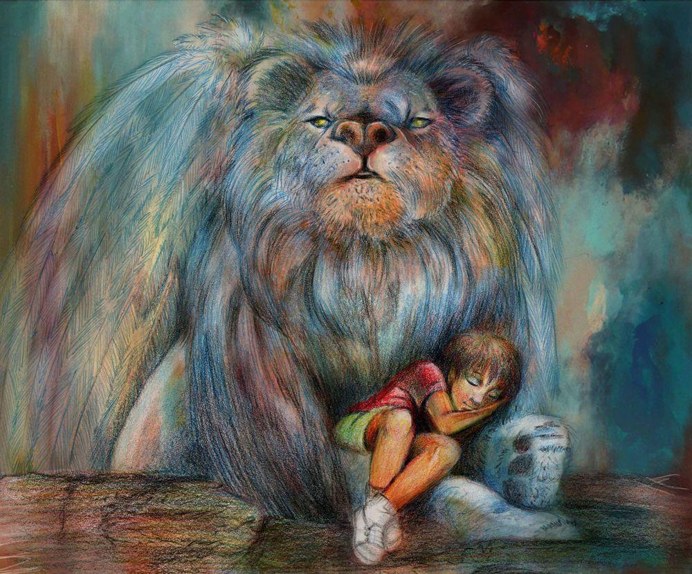 Обои для рабочего стола Мальчик спит у ног льва, работа Angel-guardian / ангел -хранитель, by indra13