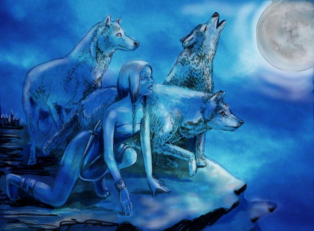 Картинка луны девушки и волка