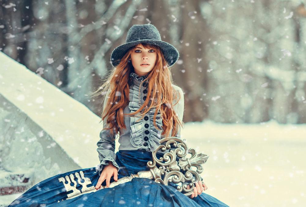 фото девушек в снегу одетые