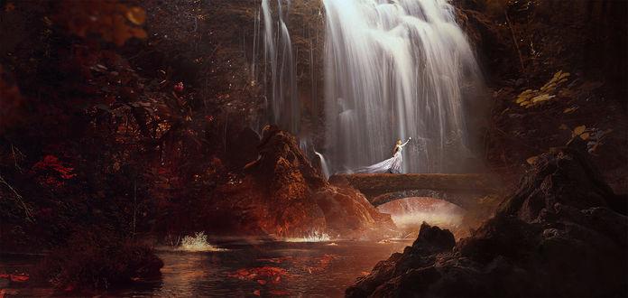 Обои Девушка стоит на каменном мосту у водопада
