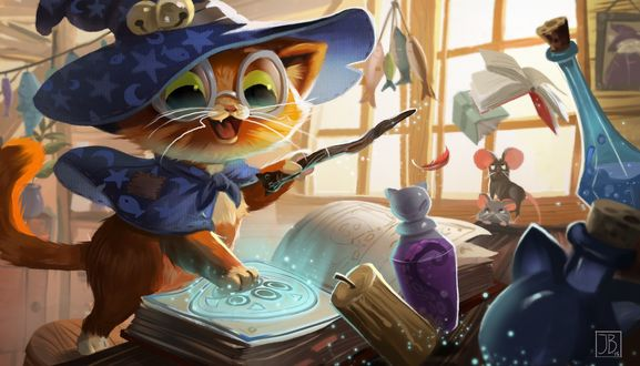 Обои Котенок-волшебник колдует, за ним наблюдают мыши, by Julia Blattman