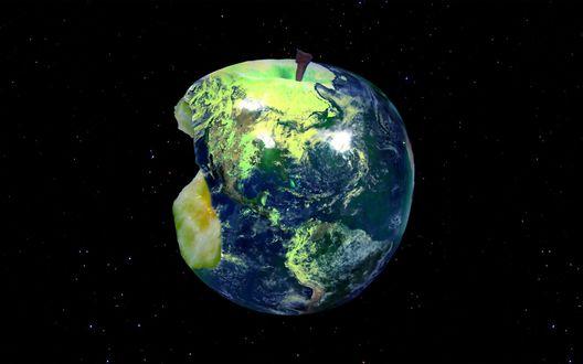 Обои Планета Земля в форме откушенного яблока