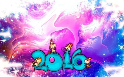 Обои Фоновая абстракция, надпись 2016 на которой сидят обезьянки