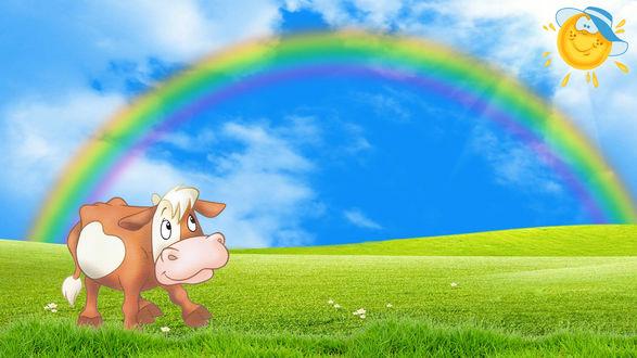 Обои Теленок на солнечной полянке на фоне радуги