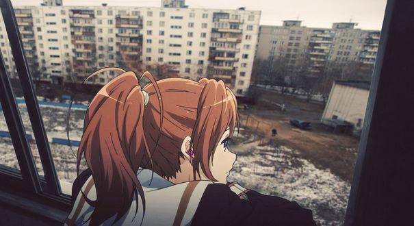 Обои Анимешная девушка смотрит с балкона