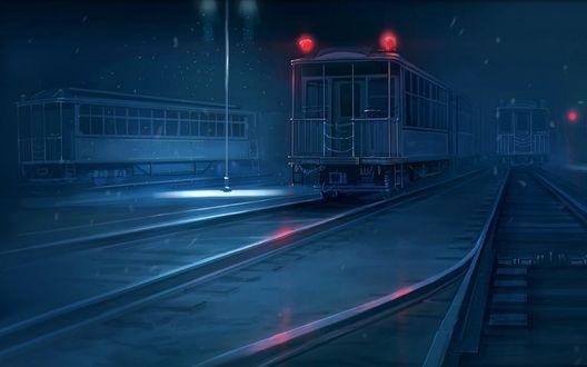 Обои Поезда зимней ночью