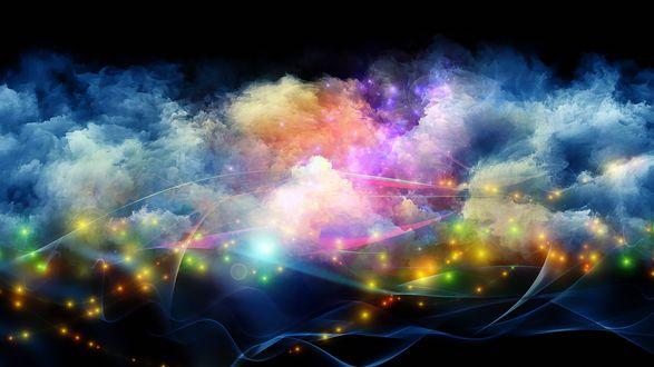 Обои Разноцветный дым с абстрактными линиями и желтыми огоньками