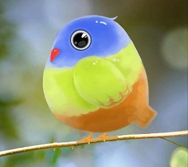 Обои Разноцветная фигурка птички сидит на веточке