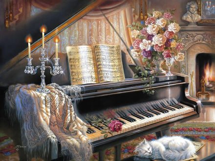 Обои Белый кот лежит на банкетке рядом с пианино, by John Gibson