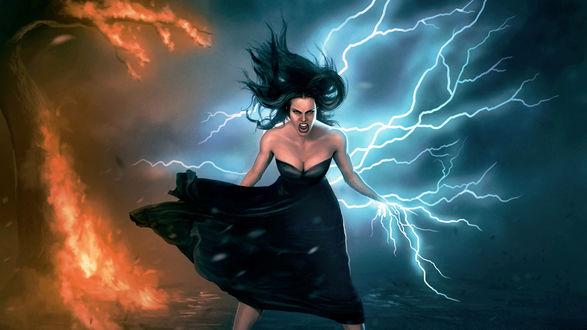 Обои Девушка в гневе вызывает огонь и молнии