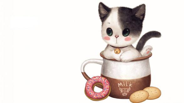 Рисунок милый котёнок в кружке