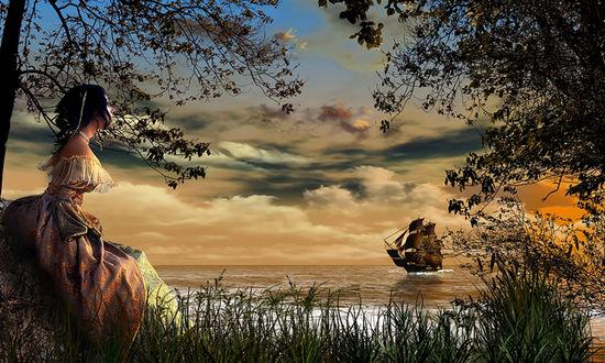 Обои Девушка у моря смотрит на корабль проплывающий вдали