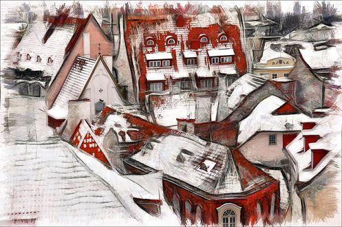 Обои Заснеженные крыши домов города Таллинн / Тallinn/, Эстония