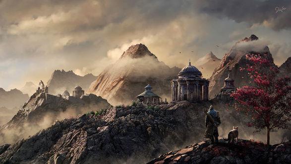 Обои Воин и волк стоят на холме на фоне горных вершин и храма