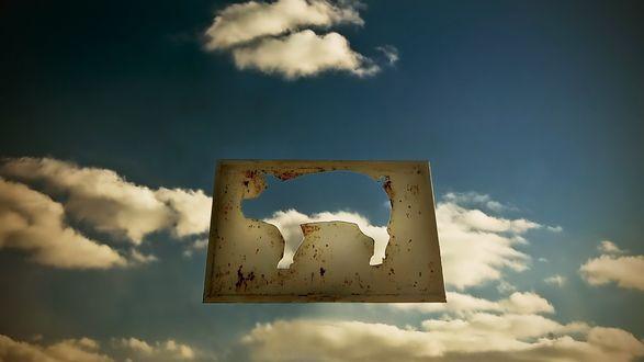 Обои Силуэт свиньи на фоне неба |