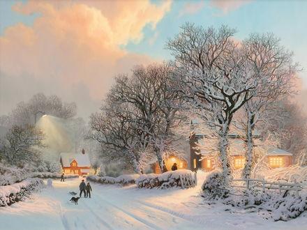Обои Красивый рисунок зимнего пейзажа