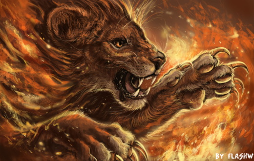 Обои Огненный лев, by Flashw