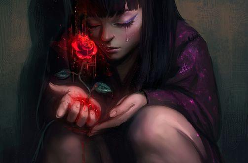 Обои Плачущая девушка, из руки которой растет роза, by AyyaSap