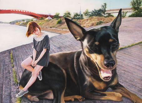 Обои Юная девушка в коротеньком платьице на пирсе с любовью смотрит на свою огромную собаку by Woo Jeong Jae